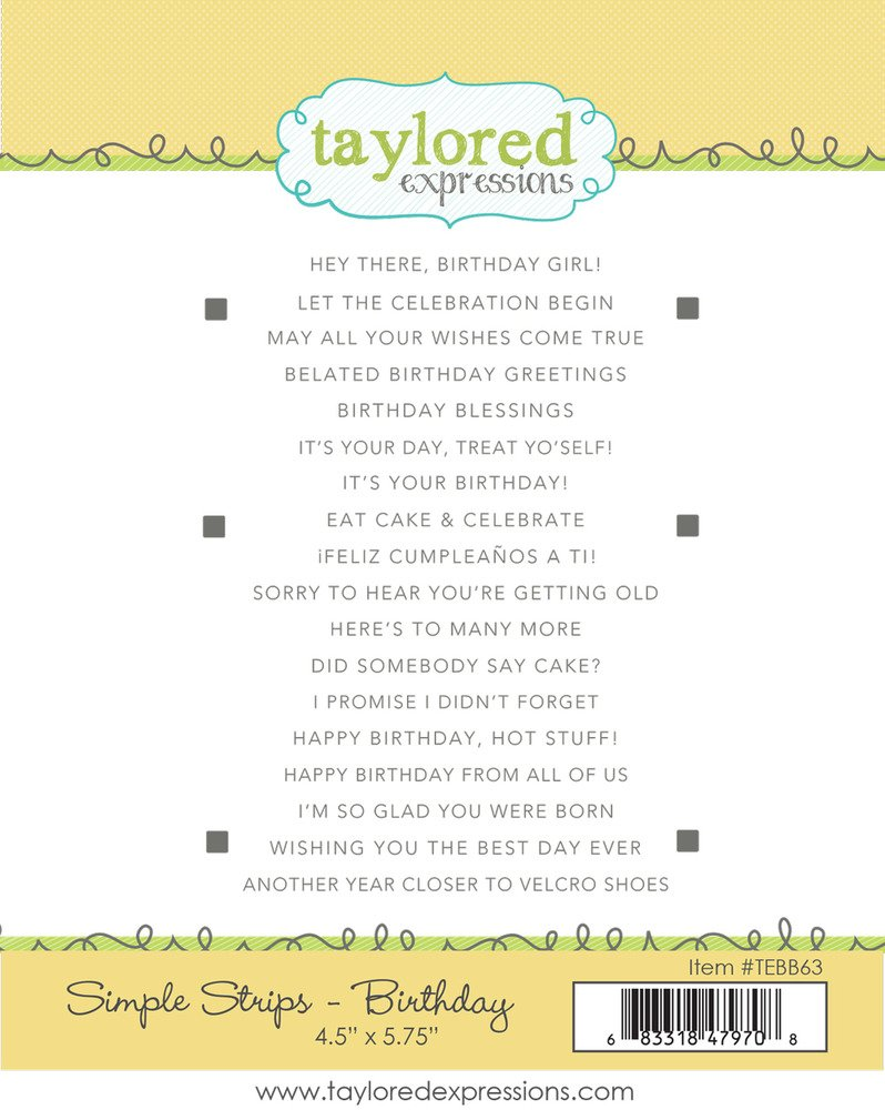 Taylored Expressions Cling Stamp, Simple Strips - Birthday