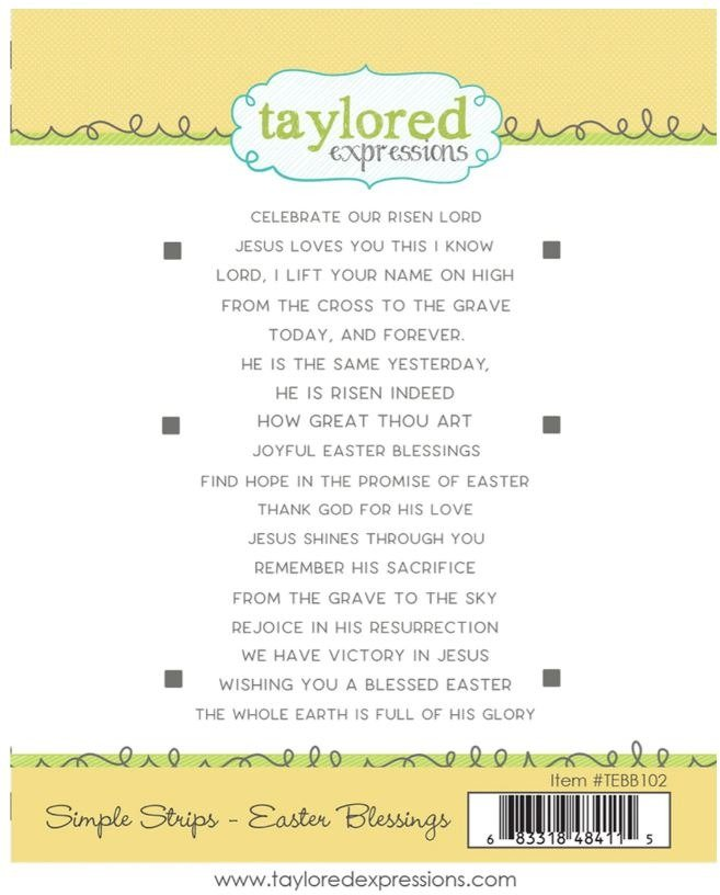Taylored Expressions Cling Stamp, Simple Strips - Easter Blessings