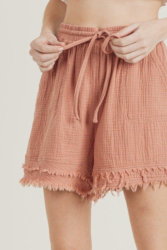 Faded Cotton Guaze Shorts