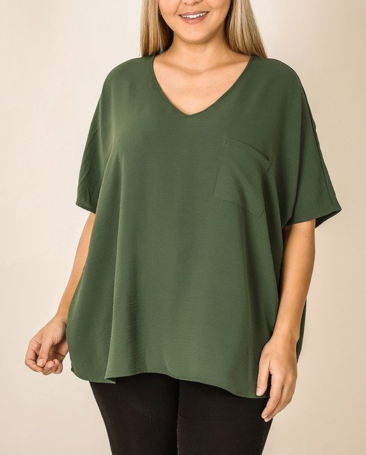 Curvy Woven Blouse w/ Front Pocket
