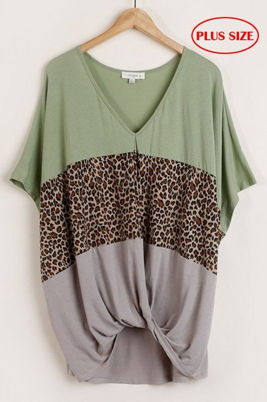 Leopard Colorblock Top w/ Front Knot