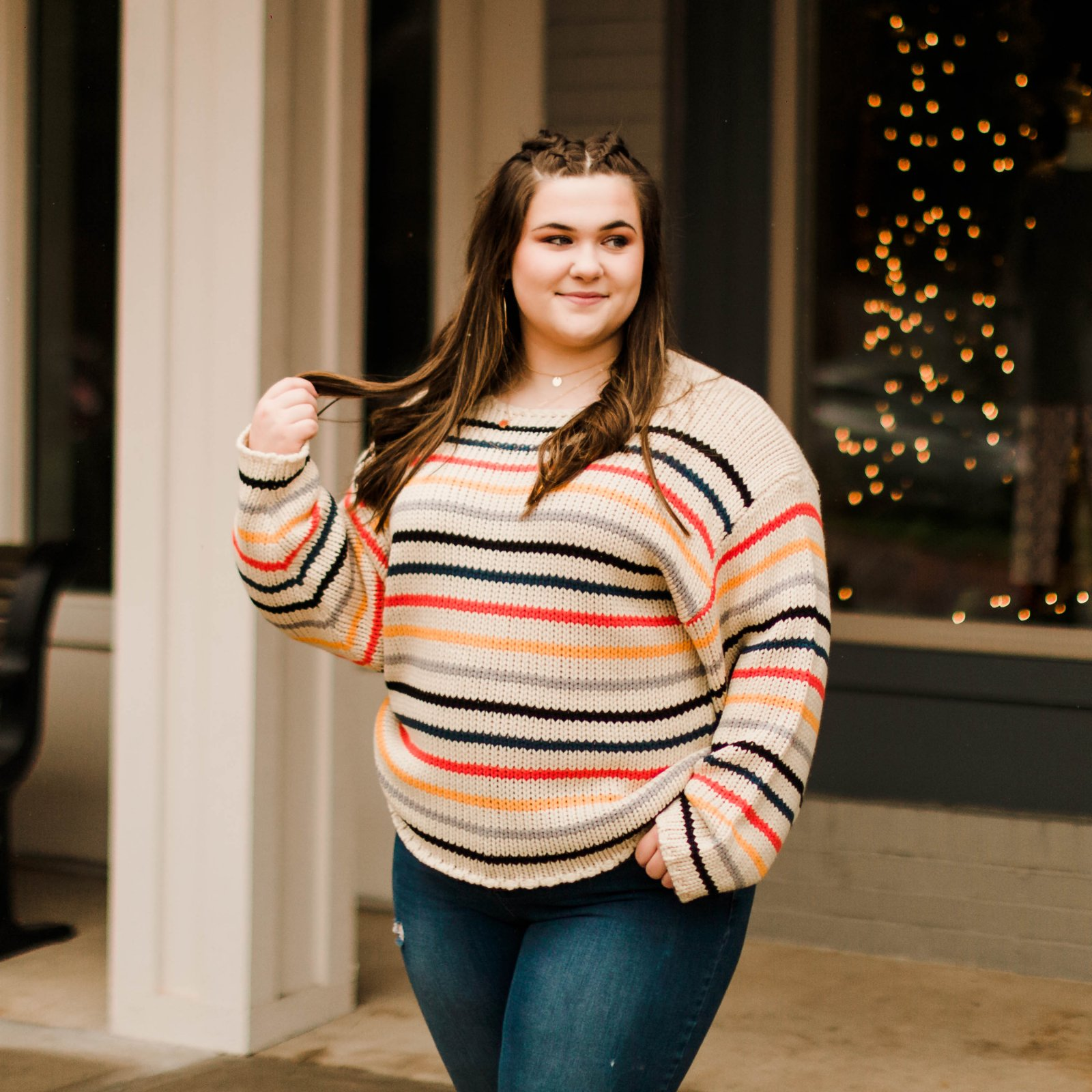 Curvy Sweater w/Stripe Accent