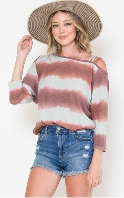 Mauve & Grey Stripe Top