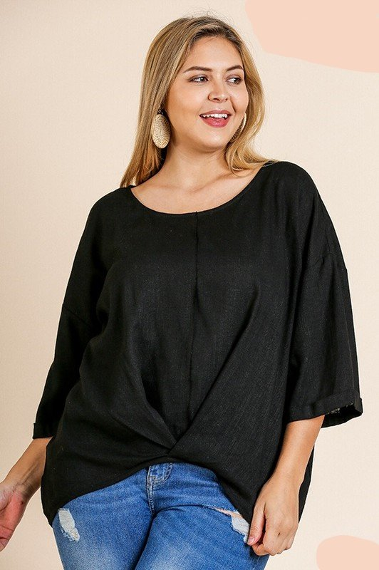 Curvy Solid Top  w/ Gathered Front