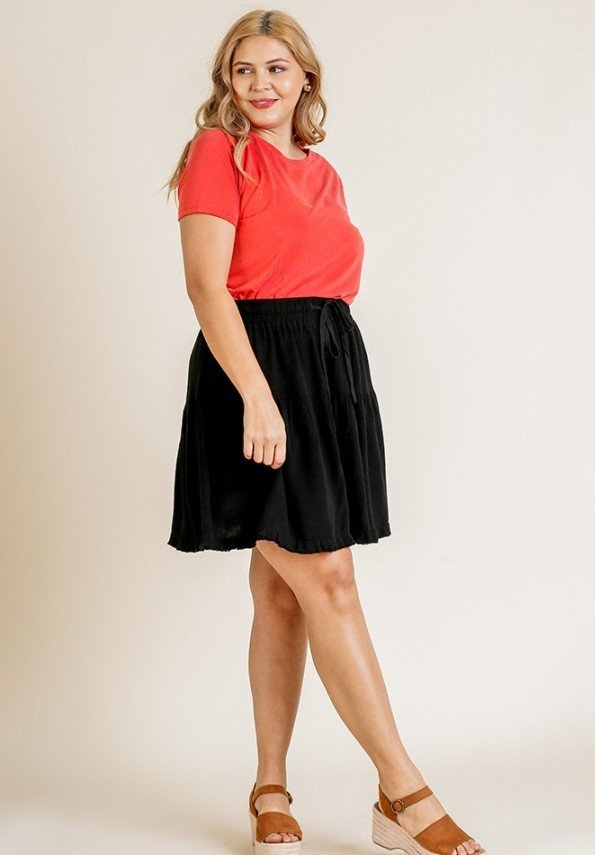 Curvy High Waisted Mini Skirt