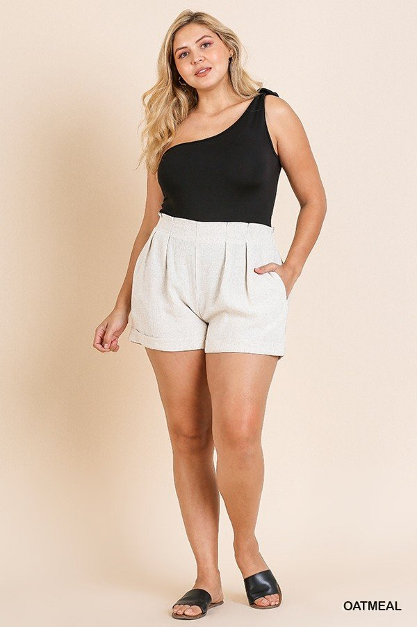 Curvy Oatmeal Elastic Waist Shorts