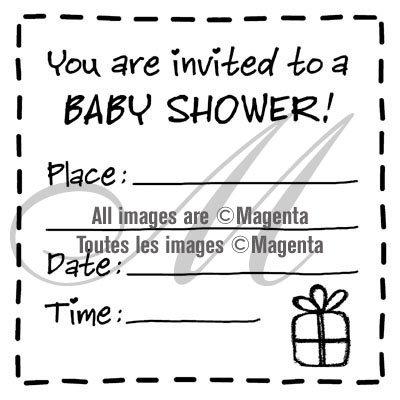 Magenta Baby Shower invitation stamp