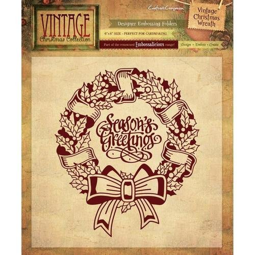 Embossing Folder Vintage Christmas Wreath