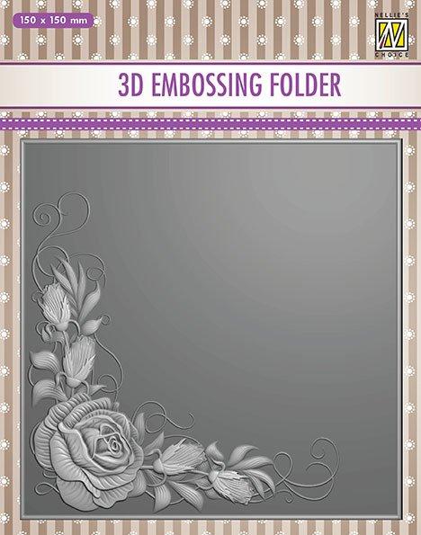 Nellie's 3-D Embossing Folder Rose Corner