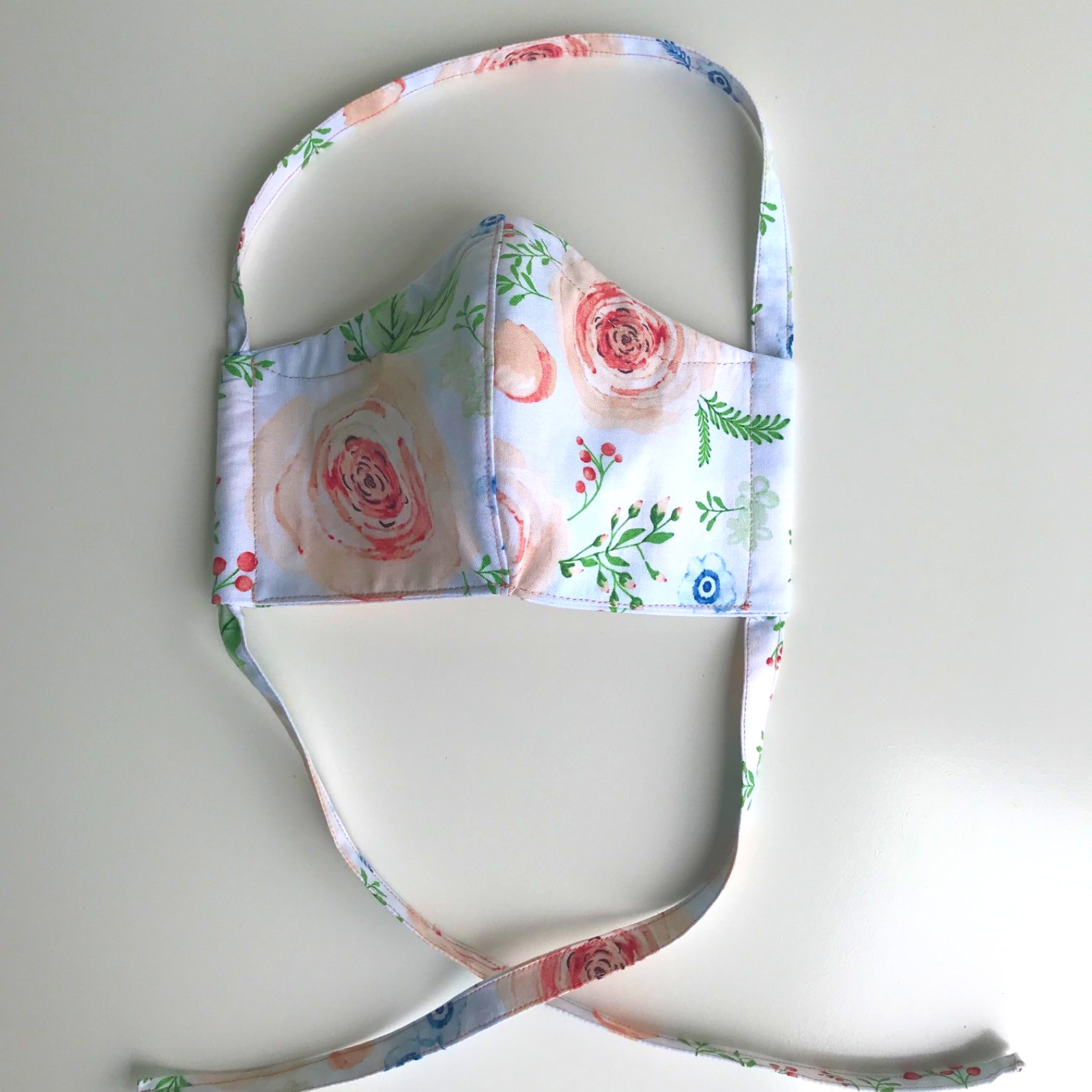 Fitted Face Mask - White / Floral