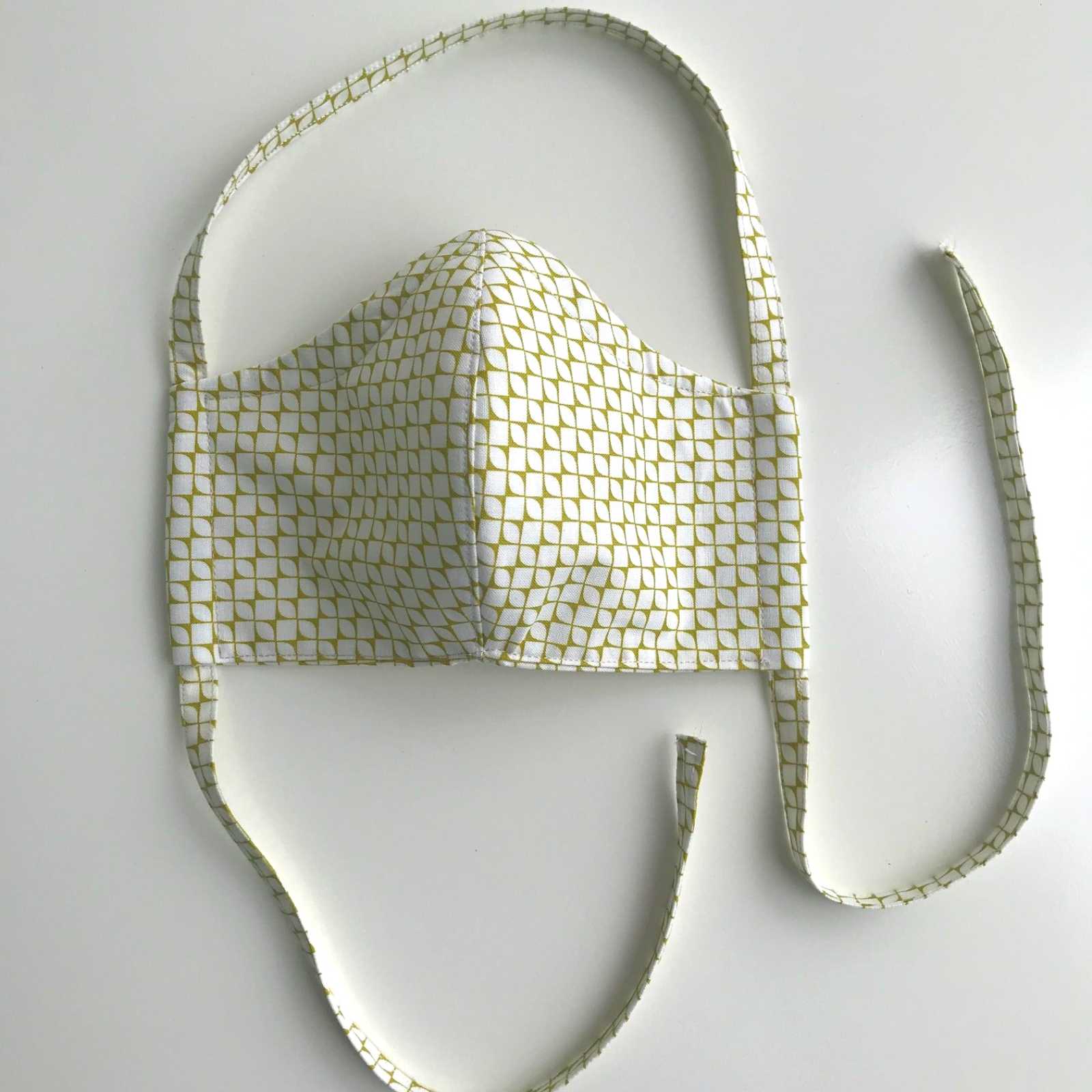 Fitted Face Mask - Chartreuse / White
