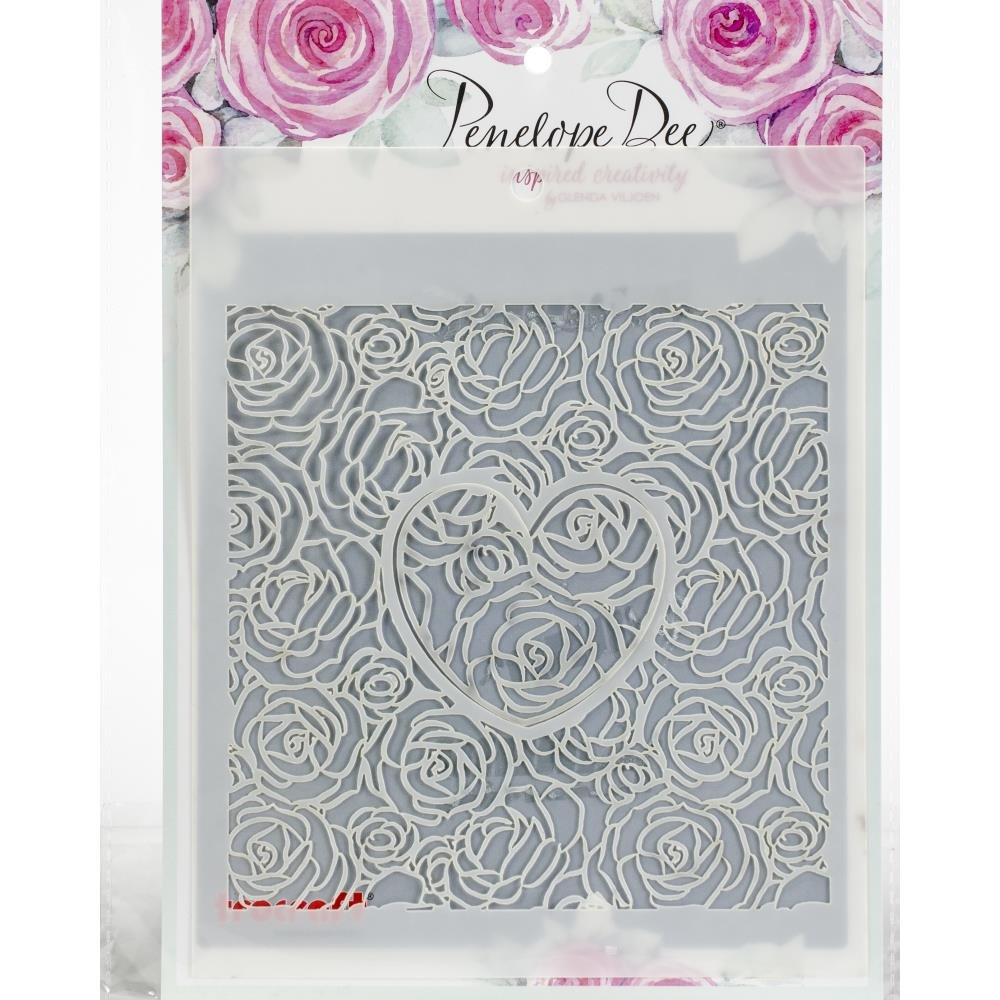 Roses and Heart Stencil