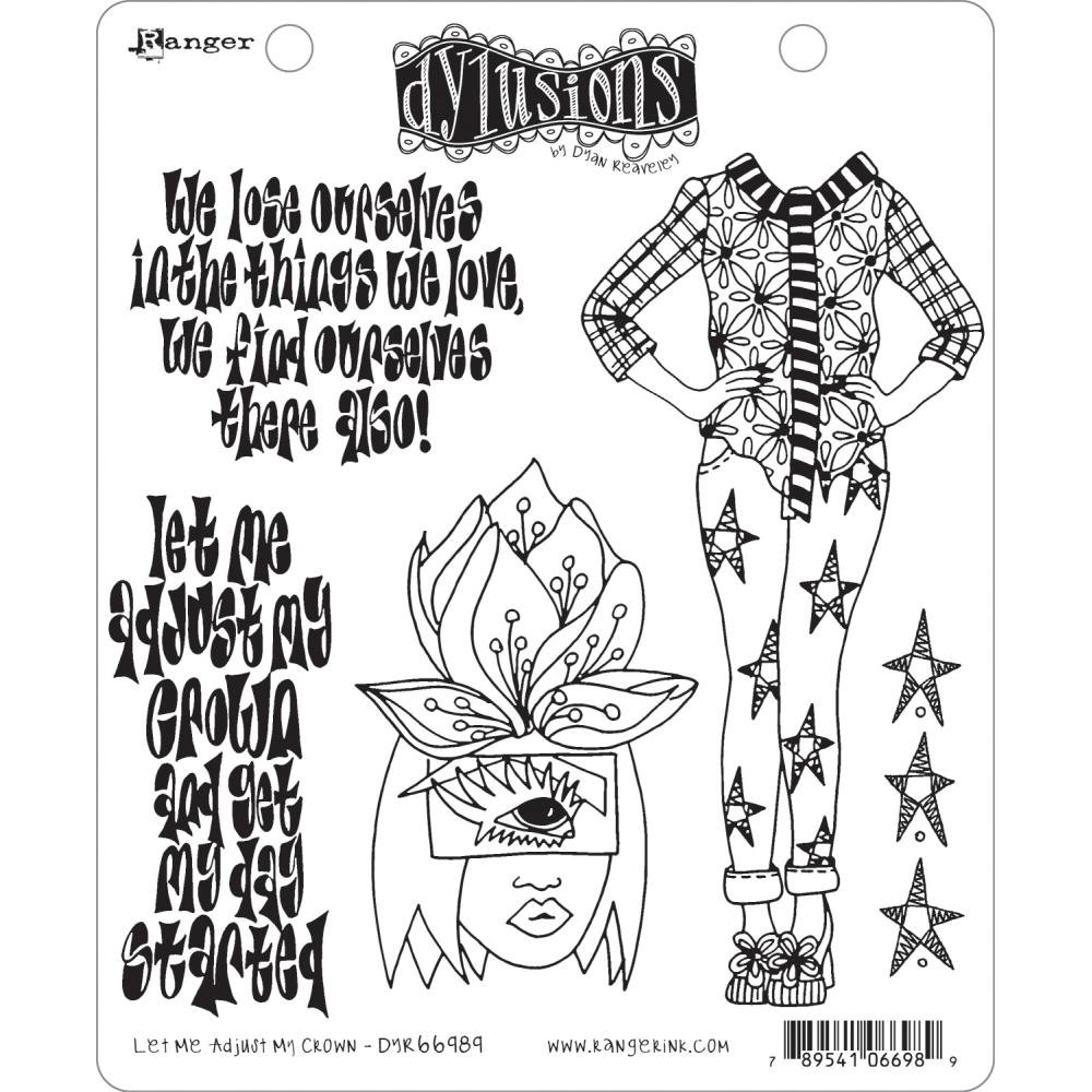 Dyan Reaveley's Dylusions Cling Stamp Collections Let Me Adjust My Crown