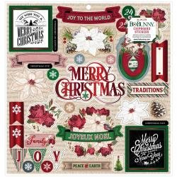 Joyful Christmas Chipboard Stickers 12X12-W/Red Foil Accents