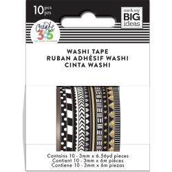 Mini Washi Tape 3mmx6.56yd Each 10/Pkg-Black & White