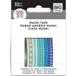 Mini Washi Tape 3mmx6.56yd Each 10/Pkg-Blue Hues
