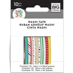 Mini Washi Tape 3mmx6.56yd Each 10/Pkg-Brights
