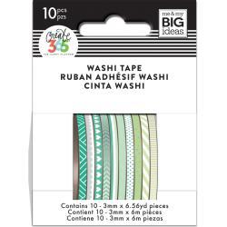 Mini Washi Tape 3mmx6.56yd Each 10/Pkg-Green Hues
