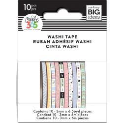 Mini Washi Tape 3mmx6.56yd Each 10/Pkg-Pastel