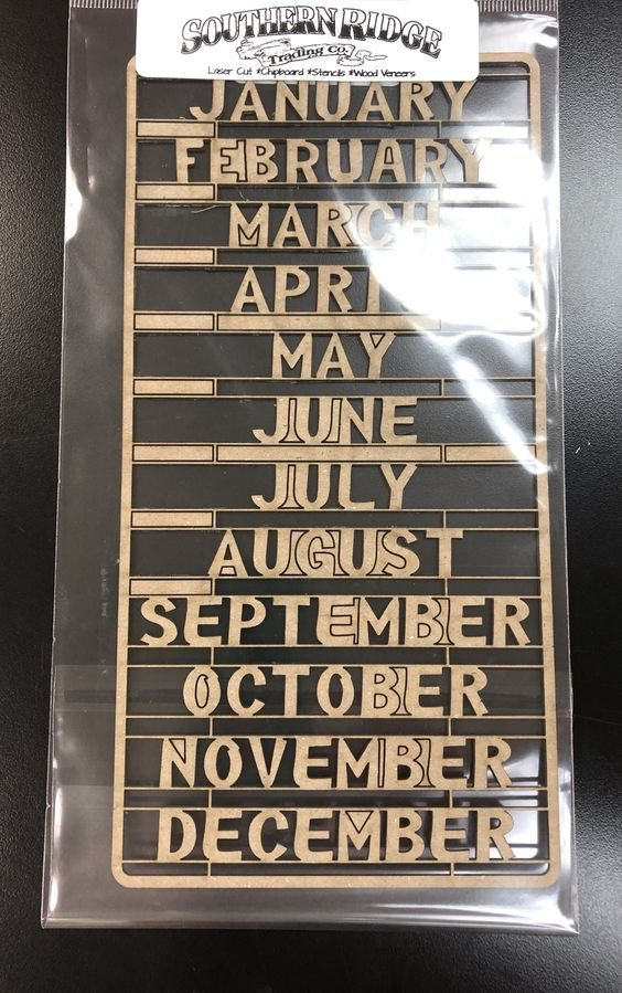 Months Of The Year Chipboard