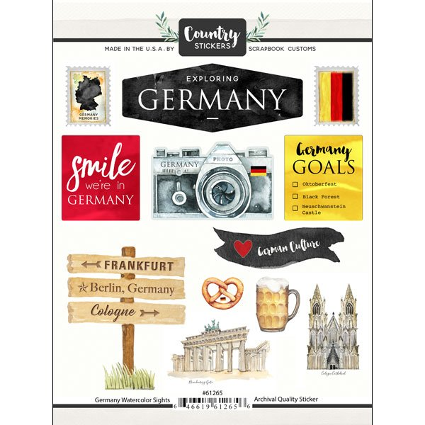 Germany Watercolor Sights Stickers