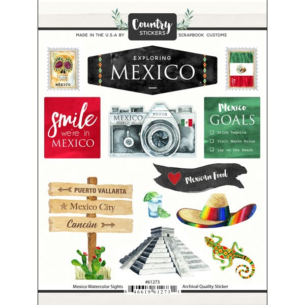 Mexico Watercolor Stickers