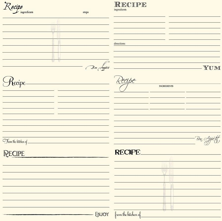 Black & Ivory Recipe Cards Paper