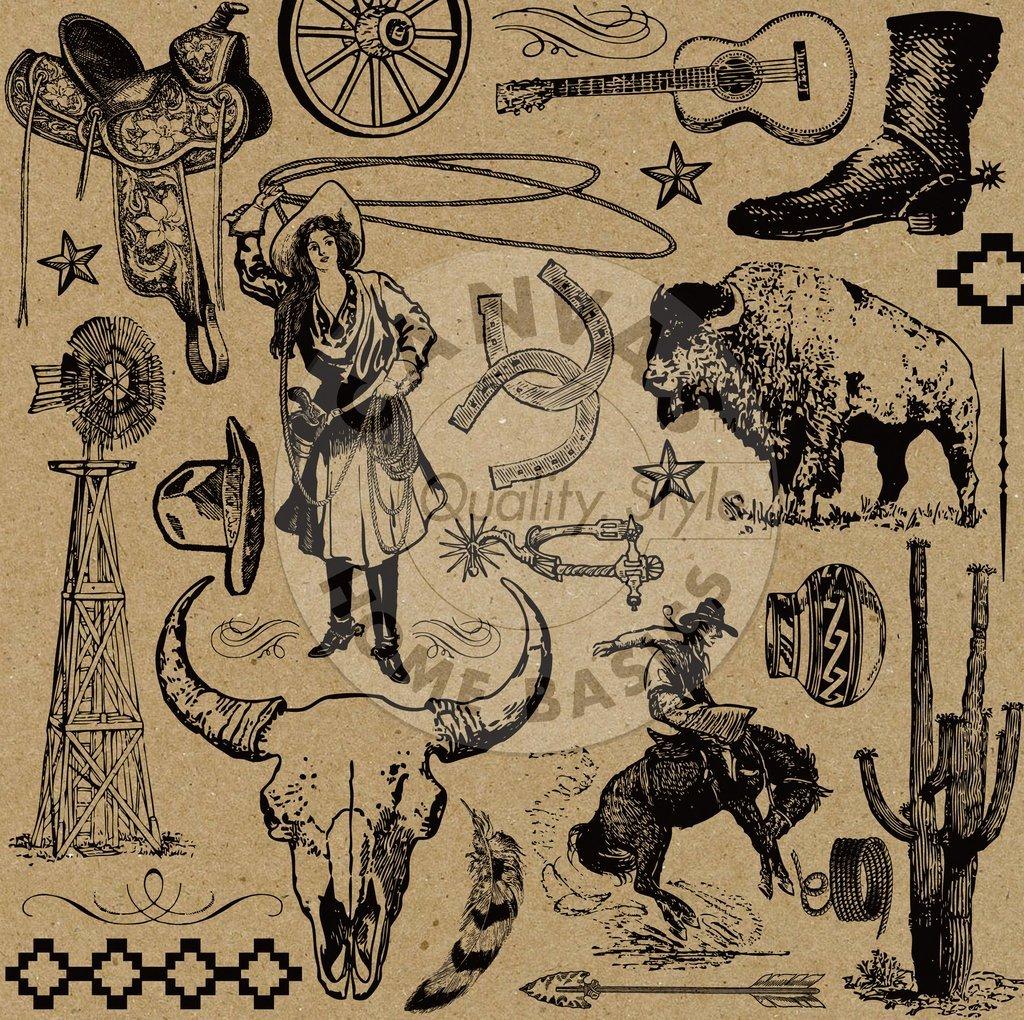 Boots & Saddle On Kraft Paper