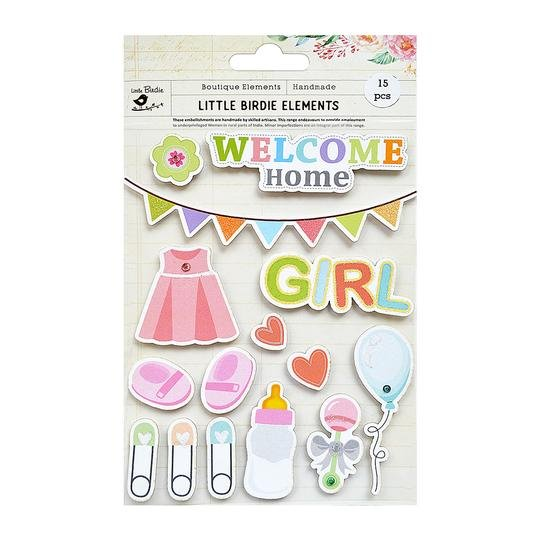 Welcome Home Baby Girl Stickers