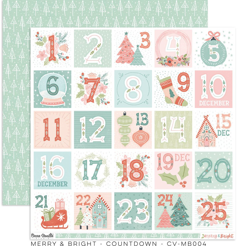 Merry & Bright  Count Down Paper