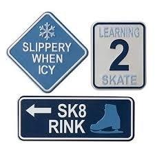 Metal Signs Ice Skating