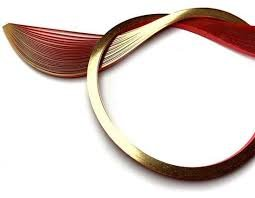 Gilded Quilling Paper 1/8 30 pcs Gold Edge on Red