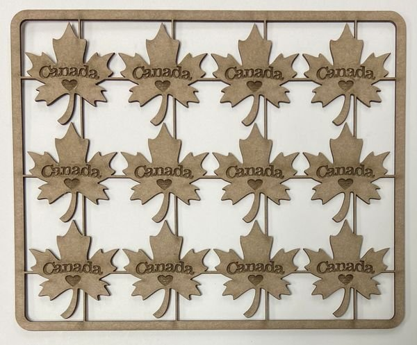 Etched Maple Leafs Chipboard