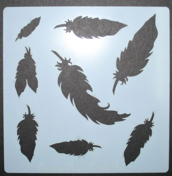 Floating Feathers Stencil