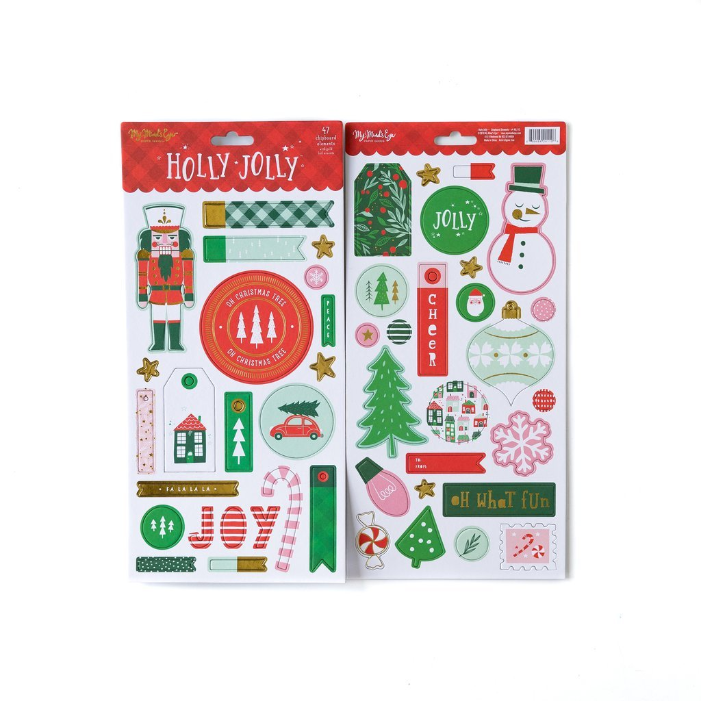 Holly Jolly Chipboard Elements