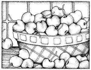 Bowl Of Cherries Background Stamp