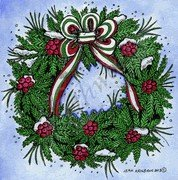Boxwood, Berry And Bow Wreath Stamp