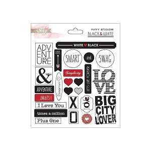 Black & White Puffy Word Stickers