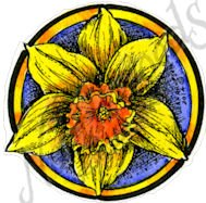 Daffodil Blossom In Small Circle Stamp