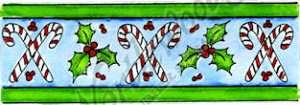 Candy Cane & Holly Border Stamp