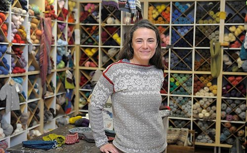 Sweater modeling at Fiddlehead Yarns