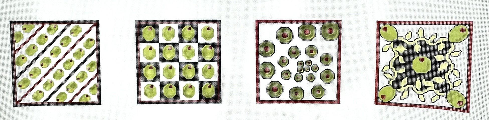 "Olive Coasters - 18m - 4"" Squares"