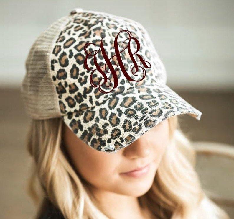 Monogrammed Leopard Print Hat