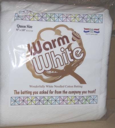 Batting Warm and White Cotton
