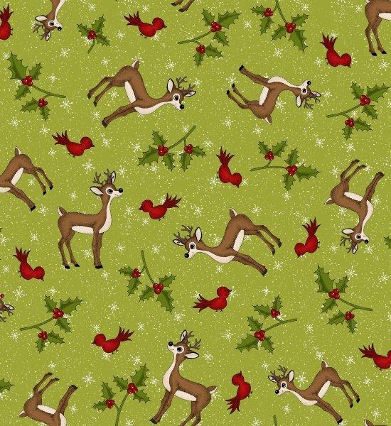 Reindeer Magic tossed reindeer & red birds
