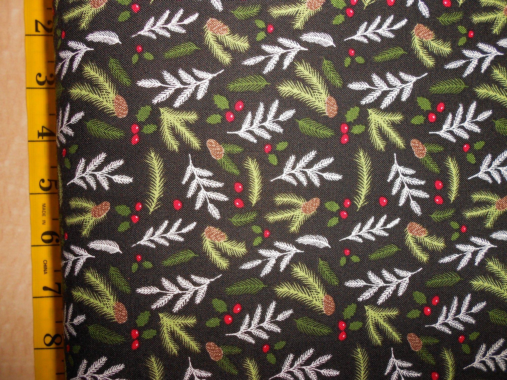 Evergreen sprigs & holly on black - Comfort & Joy