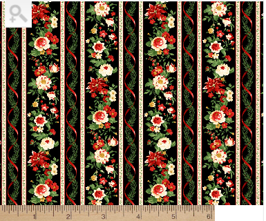 Poinsettia & Christmas Rose border print