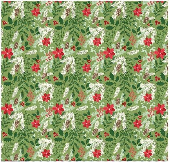 Poinsettia & pine cones on green - Comfort & Joy