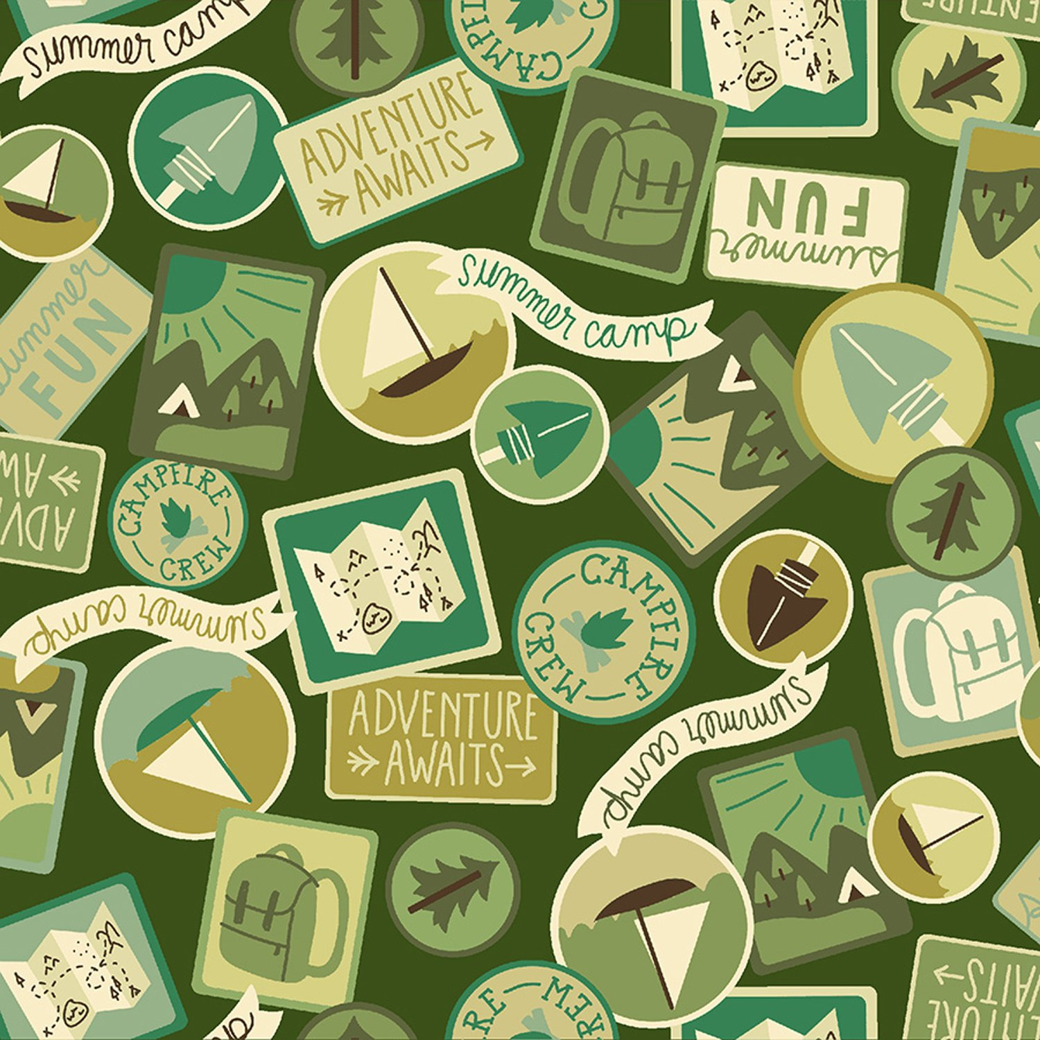 Camping Crew Patches in Moss