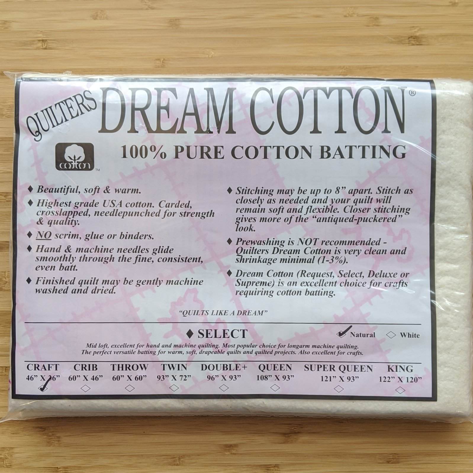 Quilter's Dream Select Loft Batting in Natural